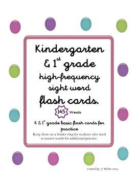 Sight Word Practice Flash Cards (Kindergarten & First Grade Words)