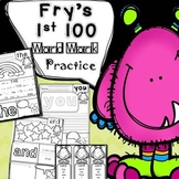 Sight Word Practice for Fry's 1st 100: Word Work