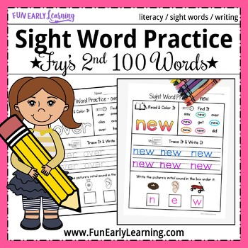 Sight Word Practice - Fry's Second 100 Sight Words NO PREP