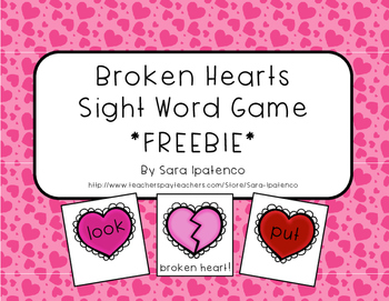 Sight Word Practice Game: Valentine's Broken Heart