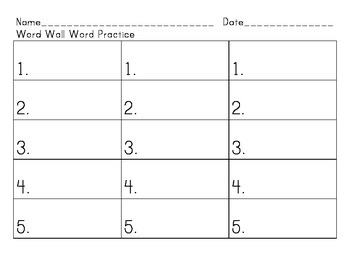 Sight Word Practice Grid