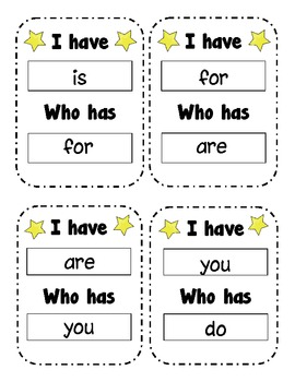 Sight Word Practice I Have Who Has
