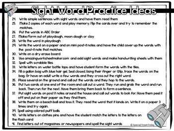 Sight Word Practice Ideas Free