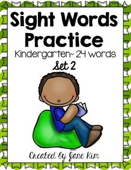 Sight Word Practice Kindergarten Set 2