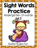Sight Word Practice Kindergarten Set 3