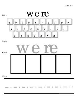 Sight Word Practice - List 4