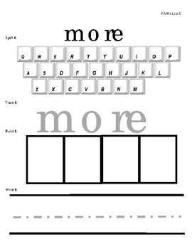 Sight Word Practice - List 5