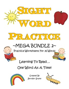 Sight Word Practice MEGA BUNDLE 2 ~36 Worksheets~ CC Aligned!