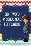 Sight Word Practice Note