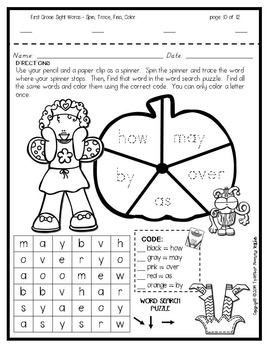 Sight Word Practice: October - Spin! Trace! Find! Color! (1st Grade)