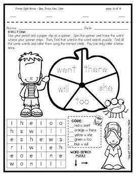 Sight Word Practice: October - Spin! Trace! Find! Color! (Primer)