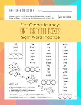 Journeys Sight Word Practice - One Breath Boxes  - First Grade