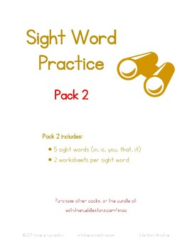 Sight Word Practice (Pack 2)