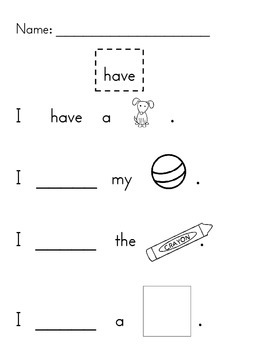 Sight Word Practice- Pack 2