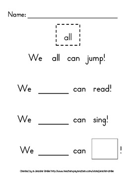 Sight Word Practice- Pack 9