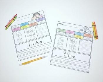 Journeys Sight Word Practice Packet Kindergarten Units 1-6