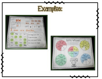 Sight Word Practice Packet for Color & Number Words