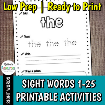 Sight Word Practice Pages (1-25)