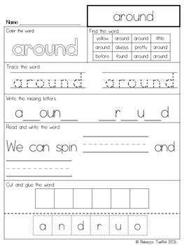 Sight Word Practice Pages: 2nd Grade