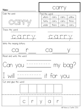 Sight Word Practice Pages: 3rd Grade
