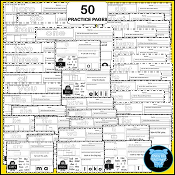 Sight Word Practice Pages - 50 No Prep Pages - Kindergarten High Frequency Words