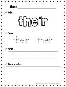 Sight Word Practice Pages *BUNDLE* (1-100)