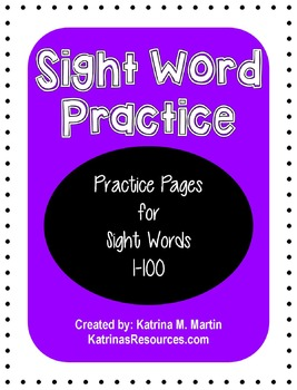 Sight Word Practice Pages *BUNDLE* (1-100)