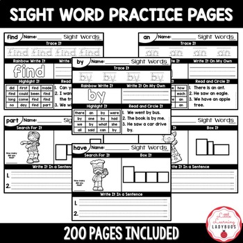 Sight Word Practice Pages BUNDLE {Fry 100 Lists 1, 2, 3, & 4}