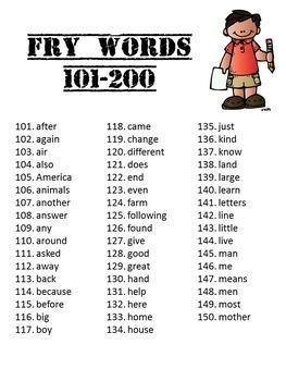 Sight Word Packet BUNDLE, K-1, Fry Words 101-200. Print & Go!