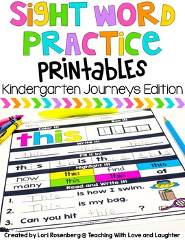 Sight Word Practice Pages {Compatible With Kindergarten Journeys}
