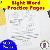 Sight Word Worksheets -ALL DOLCH WORDS!