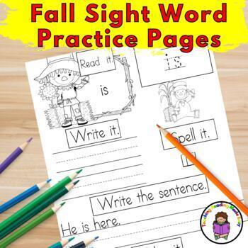 Sight Word Practice Pages Dolch Bundle: Autumn/September/October Edition
