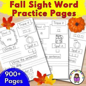 Sight Word Practice Pages Dolch Bundle: Autumn/September/O