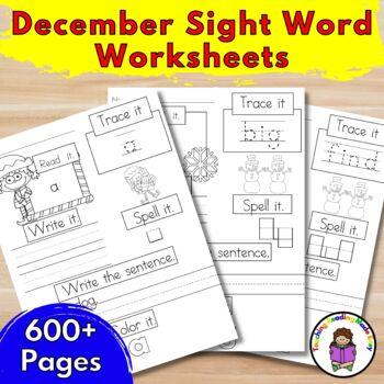 Sight Word Worksheets Dolch Bundle:  December Edition