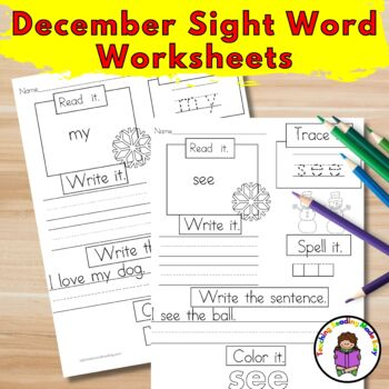 December Sight Word Worksheets:  Dolch Edition