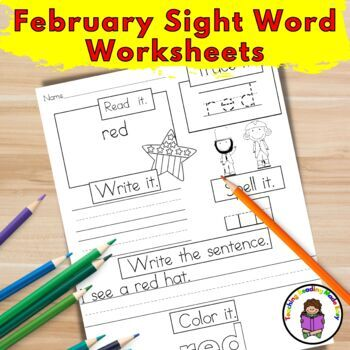 Sight Word Worksheets Dolch Bundle:  February Edition