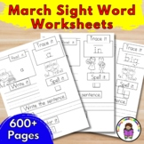 Sight Word Worksheets March Edition (Dolch List)