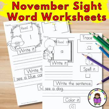 November Sight Word Worksheets:  Dolch Edition
