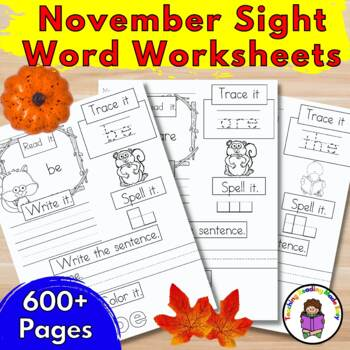 Sight Word Practice Pages Dolch Bundle: November Edition