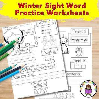 Sight Word Worksheets Dolch Bundle:  Winter/January Edition