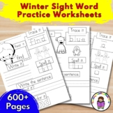 Winter Sight Word Practice Worksheets:
