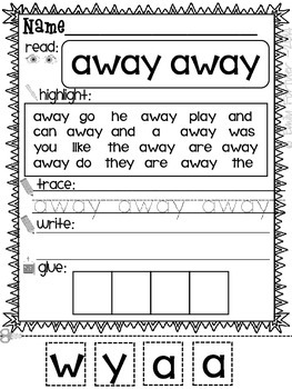 Sight Word Practice Pages (Dolch PRE-PRIMER Edition)