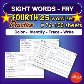 Sight Word Practice Pages - FOURTH 25 words - Literacy Centers - Fry