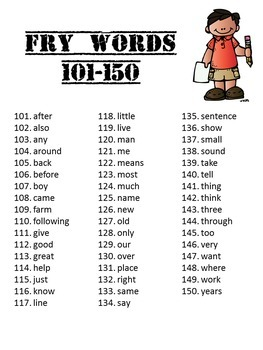 Sight Word Packet, K-1, Fry Words 101-150. Print & Go!