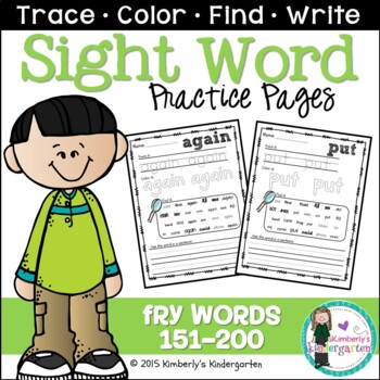Sight Word Packet, K-1, Fry Words 151-200. Print & Go!