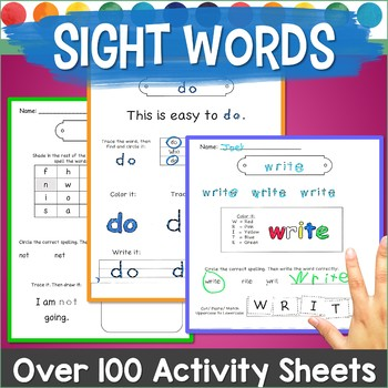 Sight Word Practice Pages (Fry Words) Spell, Trace, Build,