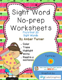 Sight Word Practice Pages - No-Prep - Fry's First 20 Sight Words