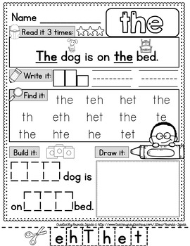 Sight Word Practice Pages: Picture-Supported, DOLCH Pre-Primer