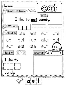 Sight Word Practice Pages: Picture-Supported, DOLCH Primer