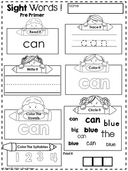 Sight Words Printables and Activities